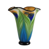 "Dale Tiffany AV15415 Multi-Colored Kalmia 13"" Tall Hand Blown Glass Vase"
