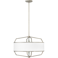 "Pendants 4 Light Fixtures With English Nickel Finish Steel Material Medium Bulb 28"" 400 Watts"