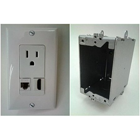 CERTICABLE 110V POWER OUTLET + HDMI 1.4 + CAT 6 RJ45 ETHERNET WALL PLATE + WALL BOX