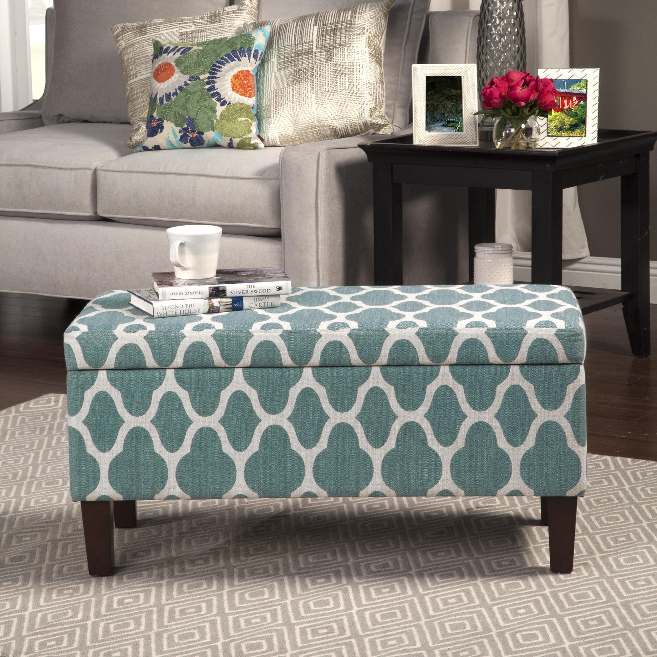 homepop large teal blue decorative storage ottoman  walmartcom -