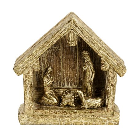 Resin Gold Nativity Creche (Cheap Nativity Costumes)