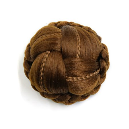 Synthetic Clip-in Type Braided Hair Bun Chignon Donut Ponytail Wigs for Women (Best Braiding Hair Brand)