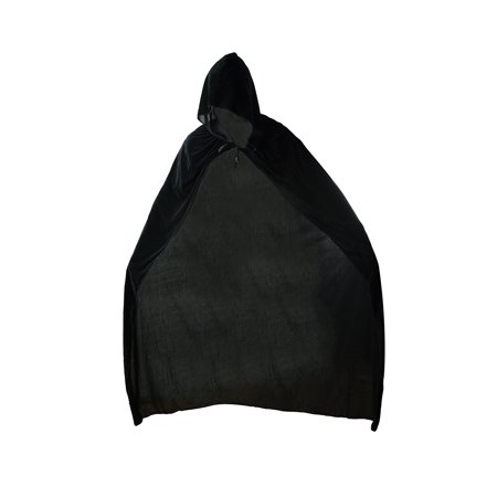 Black Velvet Hooded Cloak Gothic Cape Halloween Robe Medieval Witch Costume Prop (Hood Medieval)