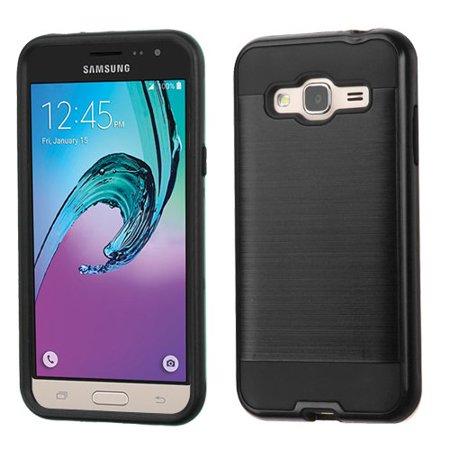 Samsung Galaxy J3V, J3, Sky, Sol, Express Prime, Amp Prime Case - Wydan Brushed Metal Texture Slim Hybrid Shockproof Impact Resistant Phone Case Cover Black on Black