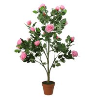 NorthLight 44. 25 inch Decorative Potted Artificial Green & Pink Floral Rose Garden Tree