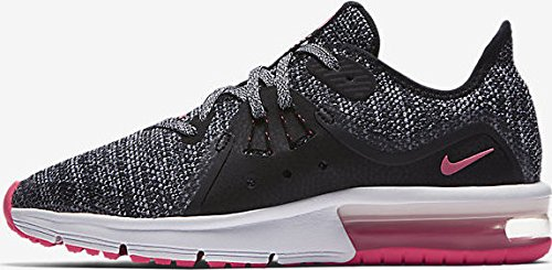 NIKE Air Max Sequent 3 (GS) Girls Fashion-Sneakers 922885-001_4.5Y - Black/White-Racer Pink