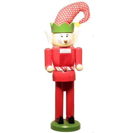 Red and Green Polka Dot Hat Christmas Elf Wooden Nutcracker 17 Inch