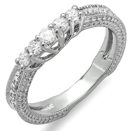0.45 Carat (ctw) 18k White Gold Round Diamond Ladies Anniversary Wedding Band Guard Enhancer Ring