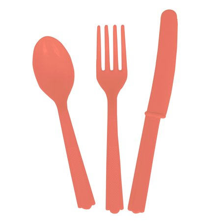 Unique Industries Assorted Plastic Silverware for 6, Coral, 18pc