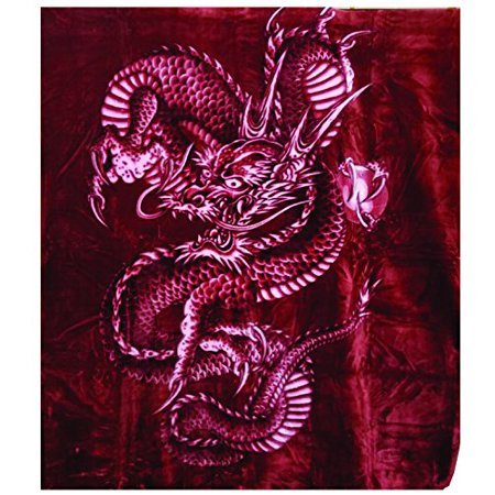 Korean Solaron Super Thick Heavy Weight Ultra Silky Soft Mink Heavy Duty Reversible Blanket bed comforters bedspreads bedding comforter King or Queen(Queen, Dragon BURGUNDY)