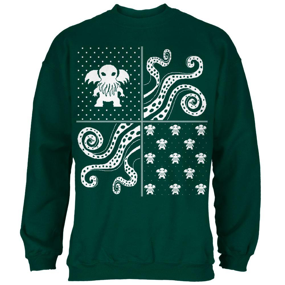 Big Cthulhu Ugly Christmas Sweater Green Adult T-Shirt