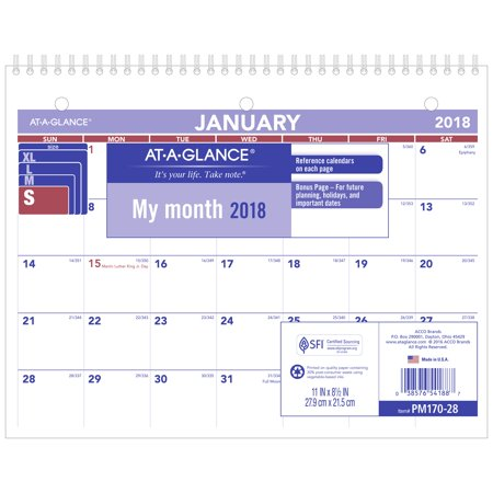 2018 At A Glance Monthly Desk Wall Calendar  12 Months  January Start  8 1 2   X 11    Wirebound  Pm170w28