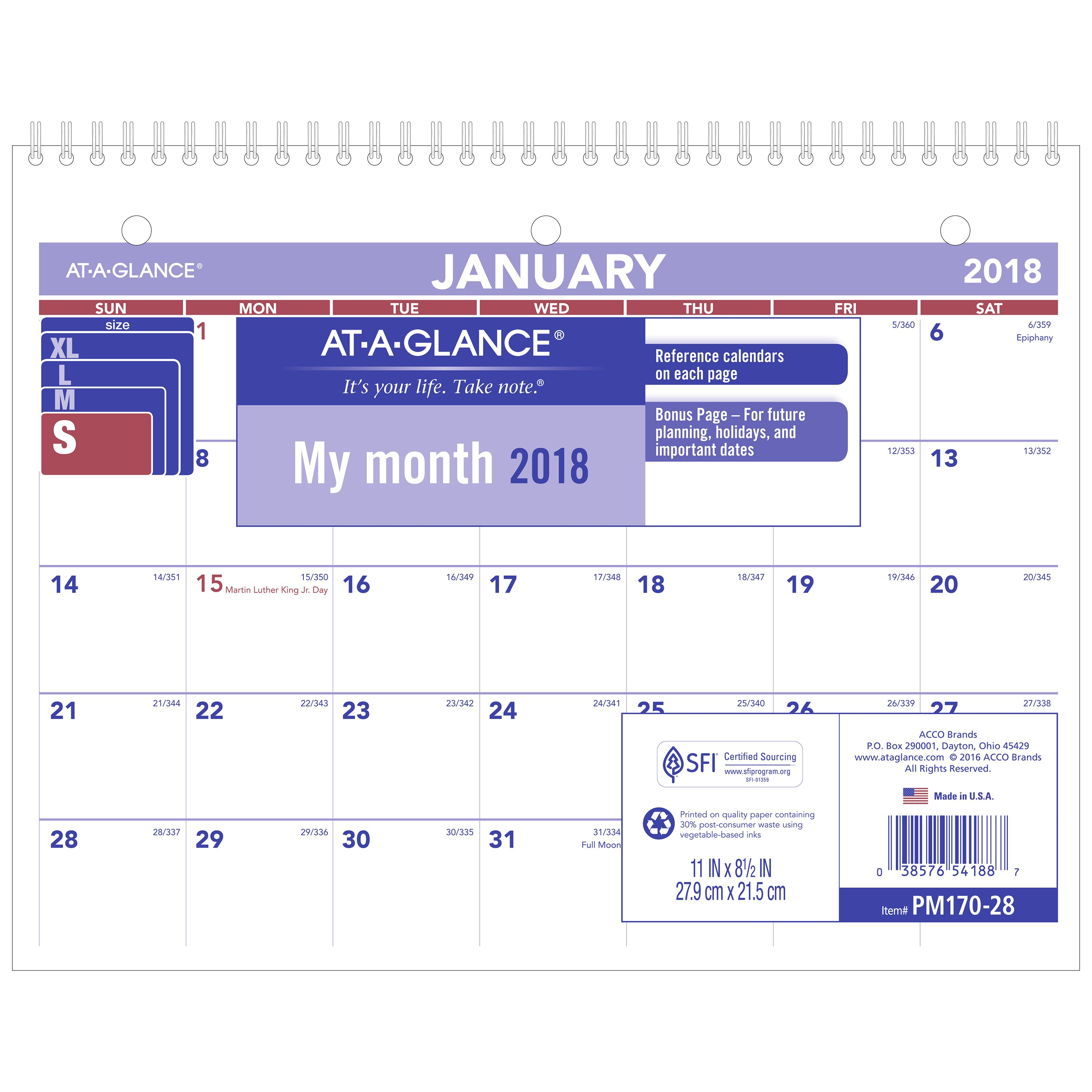 "2018 AT-A-GLANCE Monthly Desk/Wall Calendar, 12 Months, January Start, 8 1/2"" x 11"", Wirebound (PM170W28)"