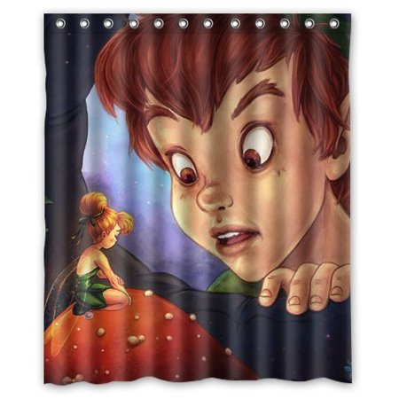 DEYOU Peter Pan Tinker Bell Shower Curtain Polyester Fabric Bathroom Size 60x72 Inches