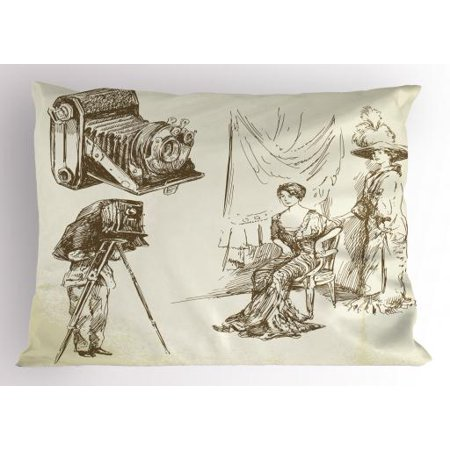 Vintage Woman Pillow Sham Two Women Posing in Front of a Nostalgic Camera  for Taking Photographs 13d529847
