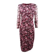 KENSIE Womens Maroon Floral Stretch 3/4 Sleeve Jewel Neck Below The Knee Sheath Wear To Work Dress Plus  Size: 14W
