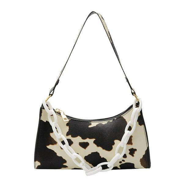 Cow Dot Printed Handbag Women PU Totes Small Underarm Shoulder Bag Beige