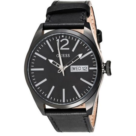 Guess W0658G4 Men's Black Leather Band With Black Analog Dial Watch New In Box