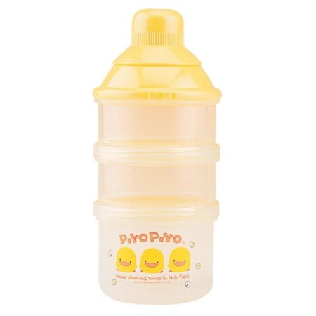 Two-Chamber Dispenser and Nipple Case, Piyo Piyo's 2 plus 1 milk powder dispenser features two separate compartments for carrying powdered baby formula By Piyo Piyo