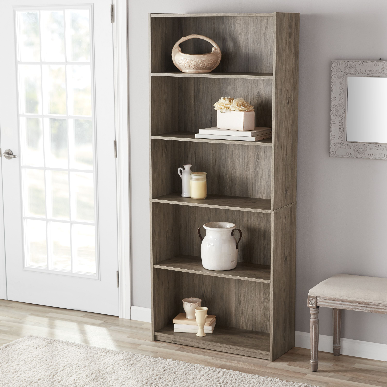 Details About Mainstays 71 5 Shelf Standard Organizer Decorative Home Bookcase Rustic Oak