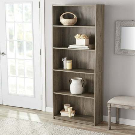 Mainstays 71 Quot 5 Shelf Standard Bookcase Rustic Oak Walmart Com