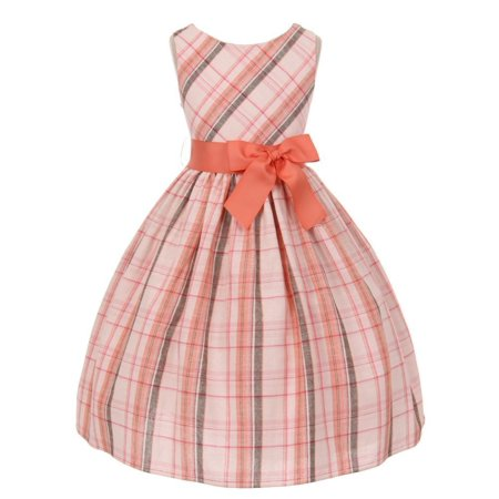Kids Dream Little Girls Coral Tartan Plaid Special Occasion Dress 2 (Tartan Plaid Dress)