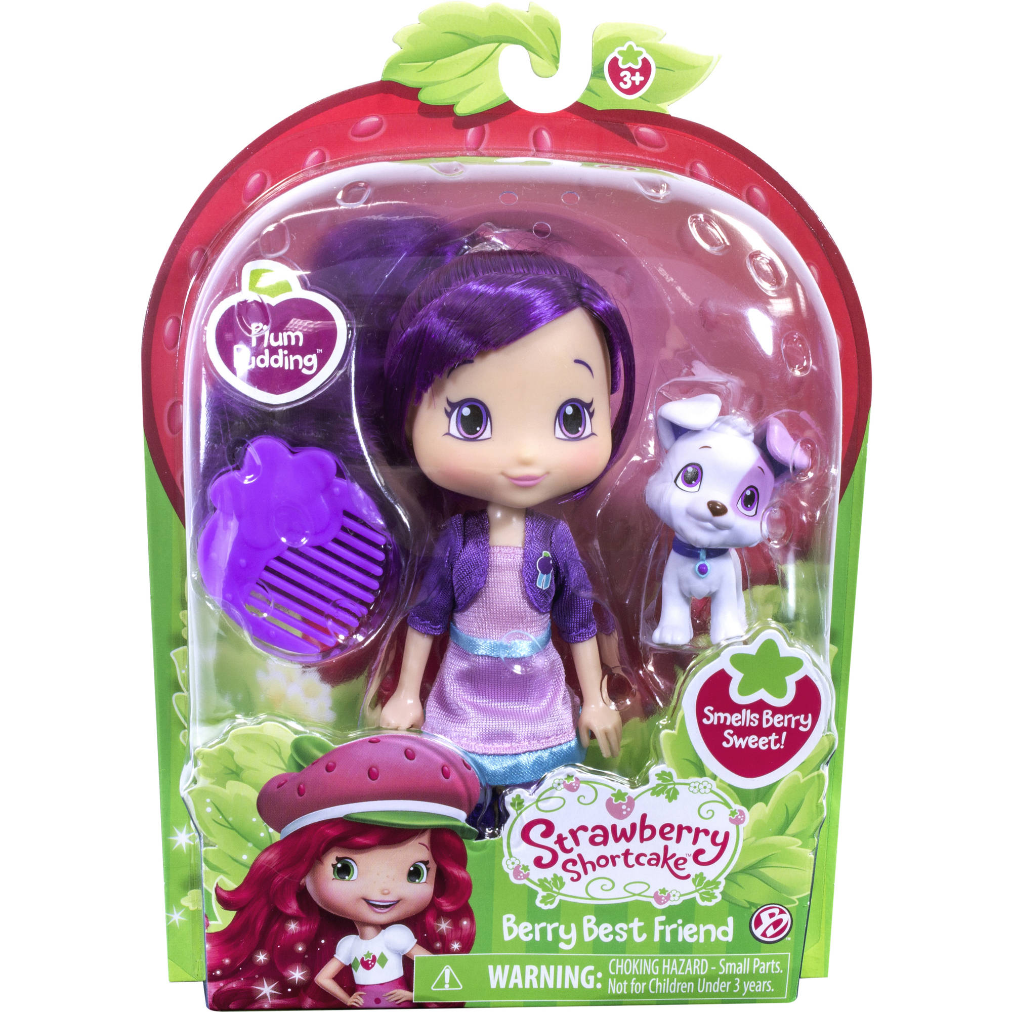 "Strawberry Shortcake 6"" Doll and Pet, Plum with Pitterpatch"