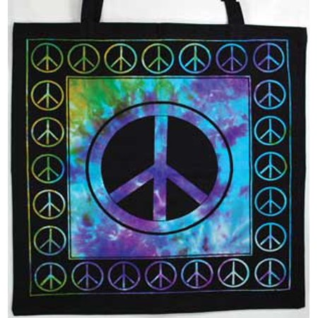 Hand Dye (Women Tote Handbags Peace Symbol Tye Dye Purple Green Rich Colors Washable Cotton )