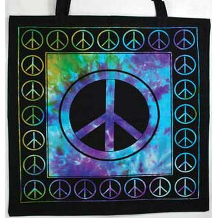 Women Tote Handbags Peace Symbol Tye Dye Purple Green Rich Colors Washable Cotton