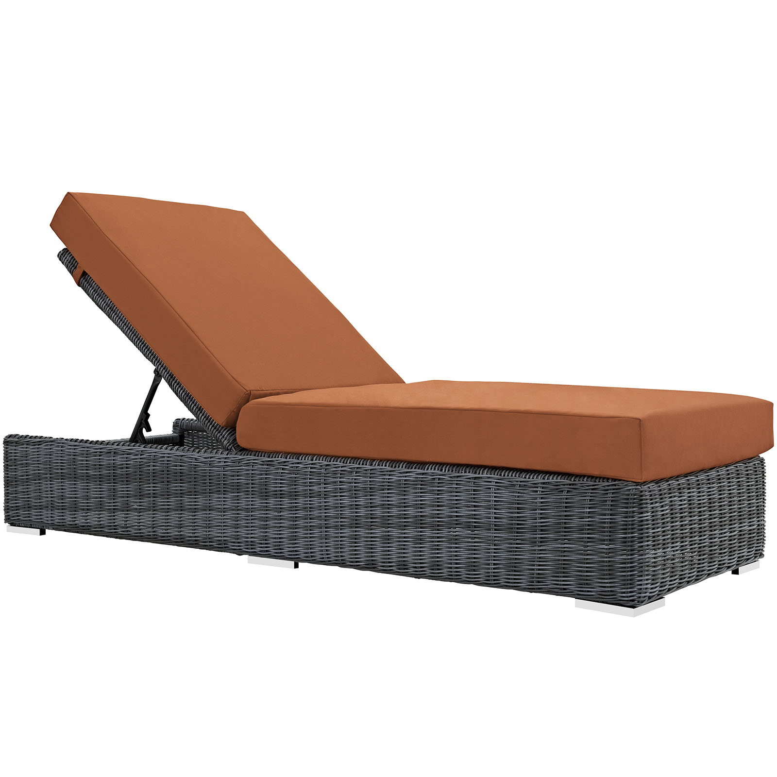 Modern Contemporary Urban Design Outdoor Patio Balcony Chaise Lounge Chair Lounge, Orange, Rattan