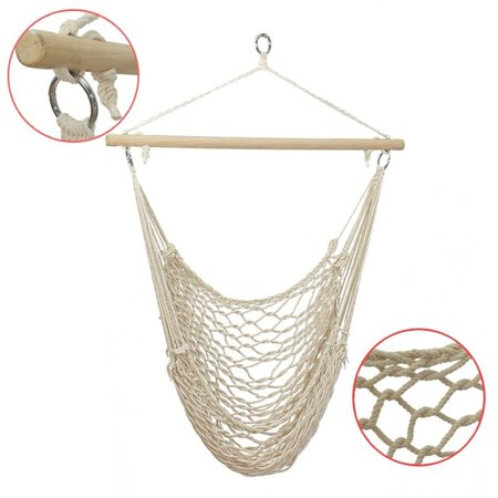 Hammock Chair Swing with Hanging Kits, Hanging Cotton Rope Swing Chair, Comfortable Sturdy Hanging Chairs for Indoor, Outdoor, Home, Patio, Yard, Garden, 250LBS Capacity (Beige) ()