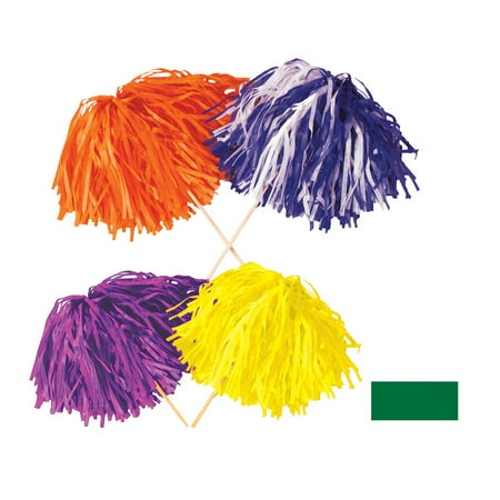 Club Pack of 144 Solid Green Pep Rally Tissue Shaker Pom Pom Accessories (Halloween Pep Rally Themes)