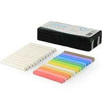 Kedudes Dustless Chalk Bundle, 12 CT White Chalk. 12 CT Colored Chalk + Premium Chalkboard Eraser