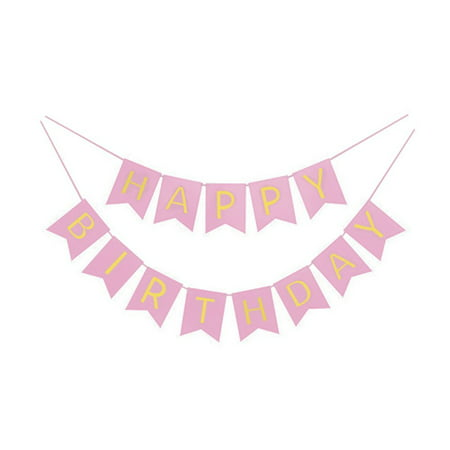 Pink And Gold Foil Happy Birthday Bunting Banner. Pink And Gold Shimmer Hanging Birthday Party Decorations And Party Supplies for $<!---->