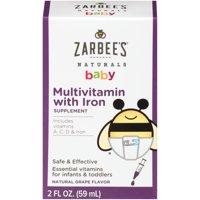 Zarbee's Naturals Baby Multivitamin with Iron, Natural Grape, 2 fl oz