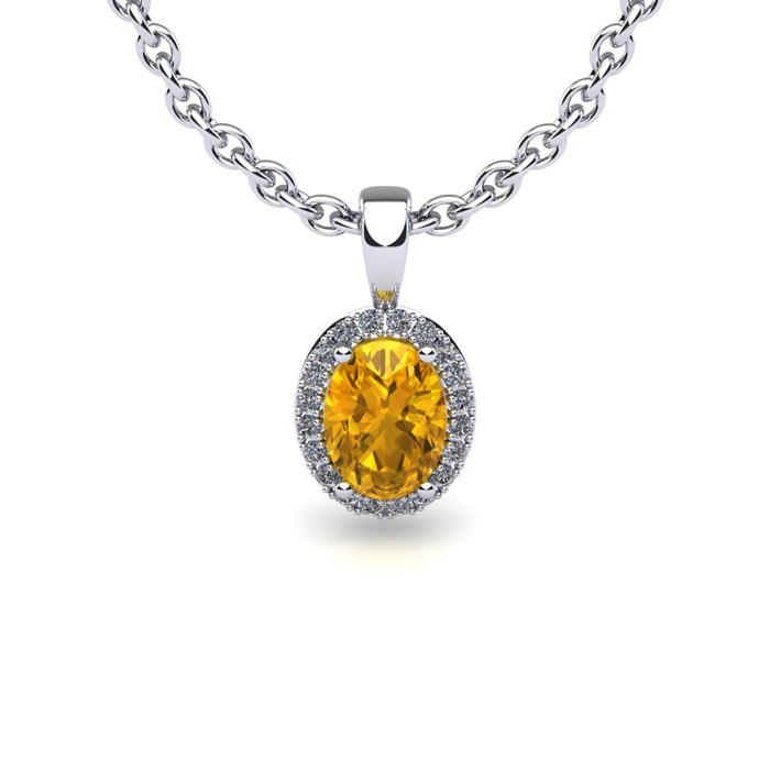 1 2 Carat Oval Shape Citrine and Halo Diamond Necklace In 10 Karat White Gold With 18 Inch Chain by SuperJeweler