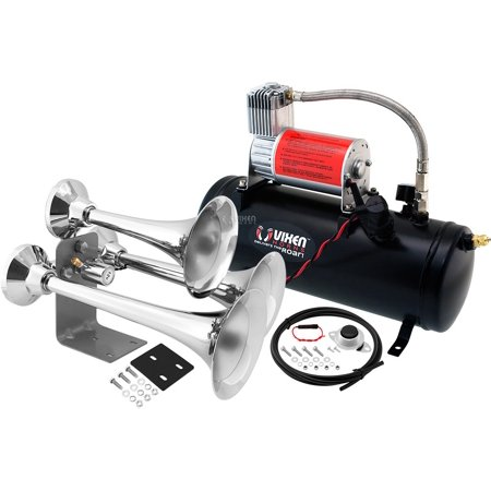 - Vixen Horns Loud 152dB 3/Triple Chrome Trumpet Train Air Horn with 1.5 Gallon Tank and 150 PSI Compressor Full/Complete Onboard System/Kit VXO8530/3318