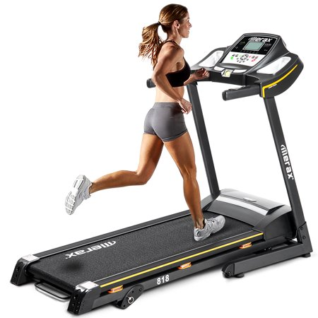 Merax 818 Folding Electric Treadmill Motorized Running Machine with Manual Incline and Hydraulic Rod Mechanism