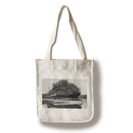 Lower Dells, Wisconsin - View of Lone Rock Photograph (100% Cotton Tote Bag - (Wisconsin Dells Photos)