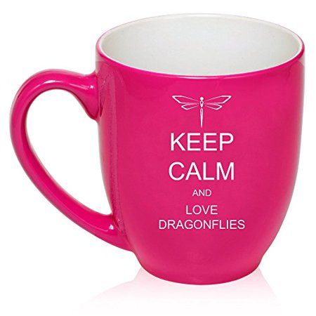 16 oz Large Bistro Mug Ceramic Coffee Tea Glass Cup Keep Calm and Love Dragonflies (Hot Pink)