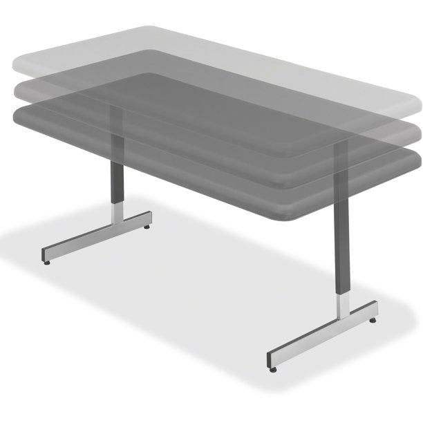 "IndestrucTable TOO Adjustable Height Utility Table, 30""x60"", Charcoal"