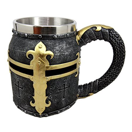Atlantic Collectibles Medieval Templar Crusader Knight Suit of Armor Helmet Beer Stein Tankard Coffee Cup Mug ()