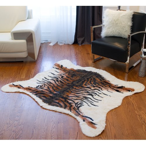Luxe Natural Tiger Faux Cowhide Brown/Black Area Rug
