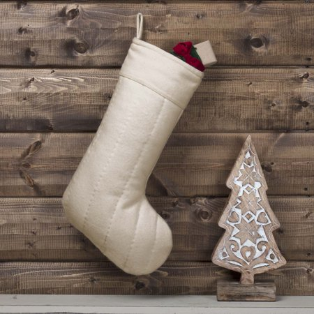 Ivory White Traditional Christmas Decor Felt Fabric Loop Hand Quilted Solid Color Stocking