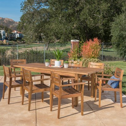 Caroline Outdoor 9 Piece Acacia Wood Dining Set with Expandable Dining Table