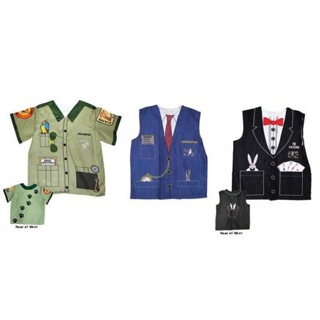 Zoo Keeper Train Conductor and Magician Child 3 Piece Bundle