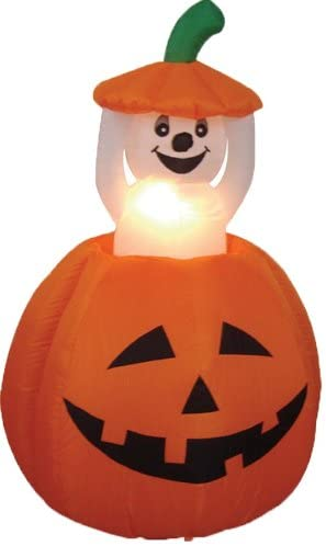 PRAISUN 4 Ft Halloween Inflatable Yard Decor Outdoor Indoor Holiday Decorations with LED Lights for Home Lawn Blow Up Lighted Ghost and Pumpkin
