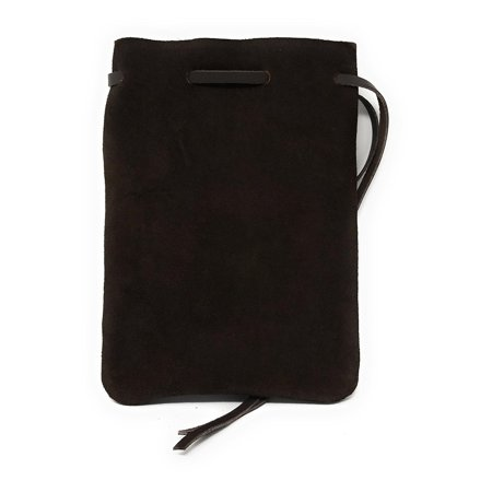 """Leather Drawstring Pouch, Coin Bag, Medicine Tobacco Pouch Medieval Reenactment, Pouch Size - 8.5"""" Lenth x 6"""" Width, Made IN U.S.A. By Nabob Leather (Large, Brown Suade)"""