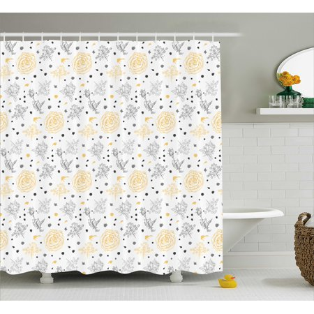 Grey And Yellow Shower Curtain Grunge Sketchy Roses Leaves Cotton Flowers With Dots Image