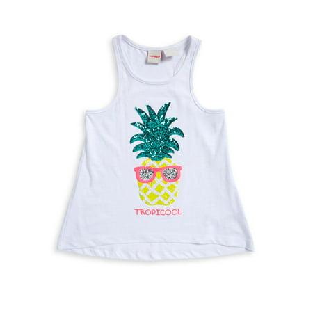 56903972d2820 Manguun - Little Girl s Tropical Sequin Tank - Walmart.com